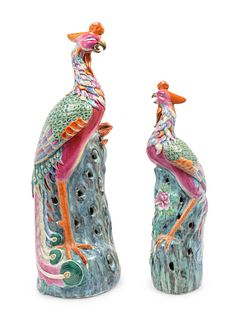 Two Chinese Export Famille Rose Porcelain Figures of Pheasants Heights 18 1/2 and 25 inches.