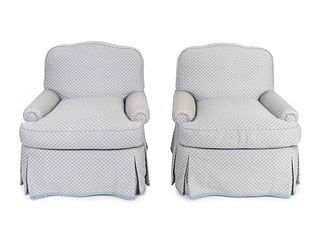 A Pair of Contemporary Upholstered Club Chairs Height 31 x width 30 x depth 32 inches.