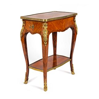 A Louis XV Style Gilt-Bronze-Mounted Kingwood and Tulipwood Table en Chiffoniere Height 28 1/4 x width 23 x depth 13 inches.