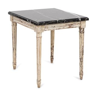 A Louis XVI Style Cream-Painted Low Table Height 17 x width 19 x depth 16 inches.