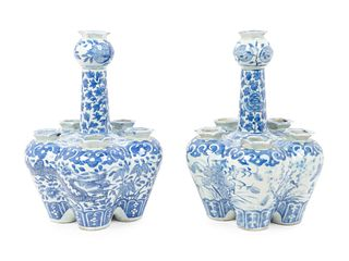Two Similar Chinese Blue and White Porcelain Tulip Vases Heights 9 3/4 x diameter 7 inch.