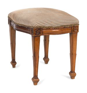 A Louis XVI Style Mahogany Stool Height 16 1/2 x length 19 1/2 x width 15 3/4 inches.