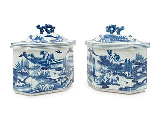 A Pair of Chinese Blue and White Porcelain Hexagonal Covered Jars Height 10 1/2 x length 10 x depth 6 inches.