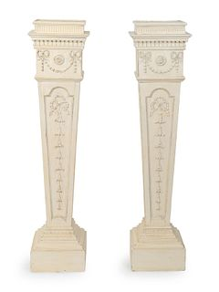 A Pair of George III Later-Painted Pedestals Height 54 x width 12 1/2 x depth 13 inches.