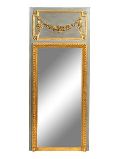 A Louis XVI Style Grey-Painted Mirror Height of mirror 67 x width 28 inches.