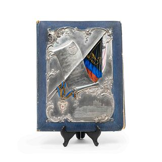 A Russian Silver and Enamel-Mounted Leather Folio 17 3/4 x 13 1/4 inches.