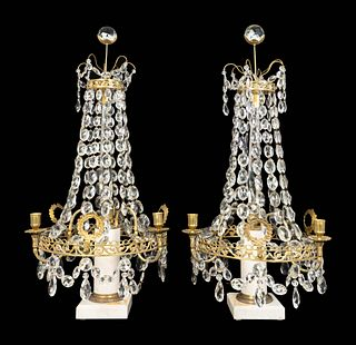 A Pair of Continental Neoclassical Style Gilt-Metal and Marble Candelabra Height 19 3/4 x diameter 15 inches.