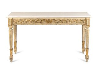 A Pair of Louis XVI Style Parcel-Gilt and Painted Consoles Height 32 x length 57 x depth 16 inches.