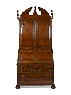 A George II Style Walnut Secretary Bookcase Height 100 x width 48 x depth 24 inches.