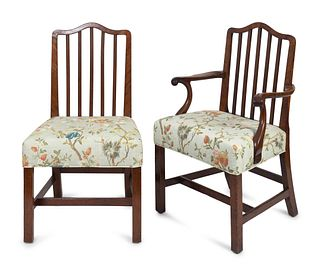 Eleven George III Mahogany Dining Chairs Height 38 1/2 x width 22 inches.