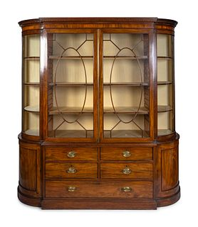 A George III Style Mahogany Breakfront Height 81 1/2 x width 76 1/2 x depth 23 1/2 inches.