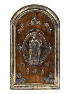 A Spanish Colonial Silver-Mounted Velvet Plaque Height 19 1/2 x width 12 inches.
