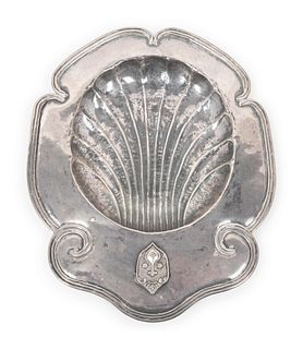 A Spanish Colonial Silver Baptismal Dish Height 1 1/4 x width 13 x depth 10 inches.