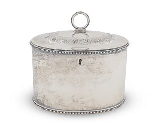 An George III Silver Oval Tea Caddy Height 4 1/4 x width 5 1/2 inches.