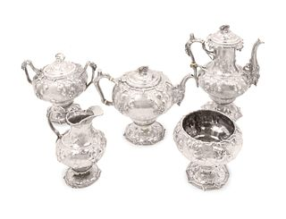 A Tiffany & Co. Silver Five-Piece Tea and Coffee Service Height of coffeepot 11 5/8 inches.