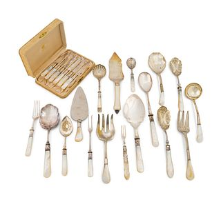 An Assembled Group of English Mother-of-Pearl-Handled Flatware and Serving Utensils Length of longest 10 1/4 inches.