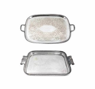 Two Silverplated Rounded Rectangular Two-Handled Trays 28 x 18 inches and 29 1/2 x 17 inches.