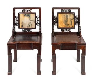 A Near Pair of Chinese Marble-Inset Hardwood Chairs Height 36 inches.