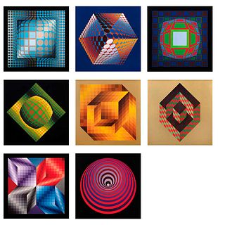 VICTOR VASARELY, Vasarely Progressions, Unsigned, Digital print, in binder w/o print number, Pieces: 8
