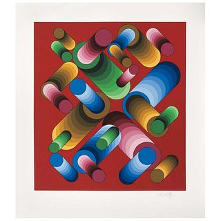 """VICTOR VASARELY, Oslop 3, 1989, Signed, Serigraph H. C., 18.3 x 17.4"""" (46.5 x 44.2 cm)"""