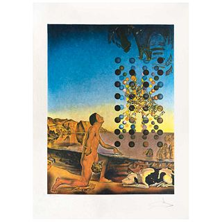 SALVADOR DALÍ, Dalí nude, in contemplation Before the Five Regular Bodies, Signed, Lithography E. A 88 / 100, Document