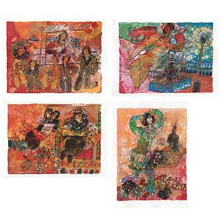 """THEO TOBIASSE, Untitled, 1975, Signed, Lithographies on Japanese paper XLVII / C, 19.2 x 25.9"""" (49 x 66 cm), Pieces : 4"""