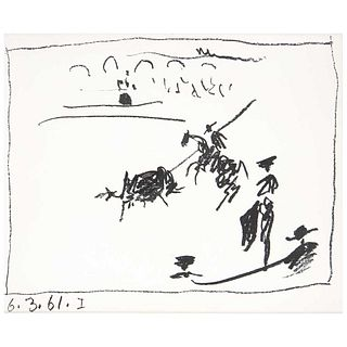 """PABLO PICASSO, I, binder Picasso: Toreros; With Four Original Lithographs, Unsigned, undated, Lithography without print number, 8.6 x 11"""" (22 x 28 cm)"""