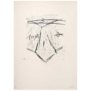 """ANTONI TÁPIES, Llambrec 12, 1975, Signed, Lithography 18 / 75, 18.5 x 14.9"""" (47 x 38 cm) plate, 29.9 x 22"""" (76 x 56 cm) size of paper"""
