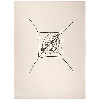 """ANTONI TÁPIES, Llambrec 9, 1975, Signed, Lithography 25 / 75, 17.3 x 14.9"""" (44 x 38 cm) plate, 29.9 x 22"""" (76 x 56 cm) total size of paper"""