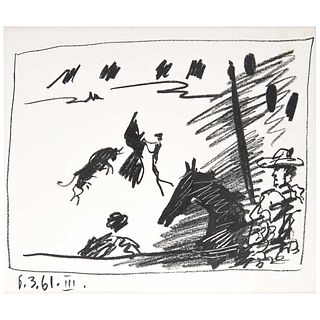 """PABLO PICASSO, III, Toreros; With Four Original Lithographs, Unsigned and dated on plate, Lithography without print number, 8.6 x 10.6"""" (22 x 27 cm)"""