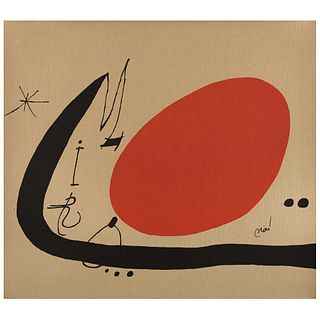 """JOAN MIRÓ, Untitled, Proverbes à la main, 1970, Signed on plate, Offset lithography on canvas w/o print number, 27 x 30.3"""" (68.7 x 77 cm)"""