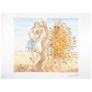 """SALVADOR DALÍ, Le repos du chevalier, Signed, Etching 51 / 225, 17.7 x 21.6"""" (45 x 55 cm)"""