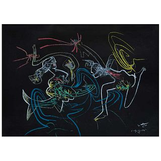 """ROBERTO MATTA, Niños y madonas de como nace una violeta de José Martí, series Verbo América, 1985, Signed, Lithograph p.d.a, 19.6 x 27.5"""" (50 x 70 cm)"""
