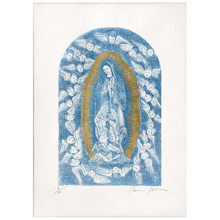 """CARMEN PARRA, Virgen de Guadalupe, 2019, Signed, Etching and aquatint, embossed with gold leaf 8 / 30, 19.6 x 28.7"""" (50 x 73 cm), Document"""