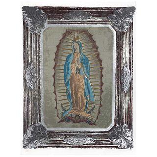 """CARMEN PARRA, Virgen de Guadalupe, Signed, Serigraphy P. A., 25.1 x 21.2"""" (64 x 54 cm)"""