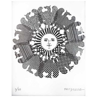 """PEDRO FRIEDEBERG, Untitled, Signed, Serigraph with silver foil 3 / 10, 7.8"""" (20 cm) in diameter"""