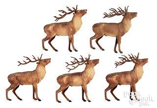 Five large Dresden reindeer Christmas ornaments