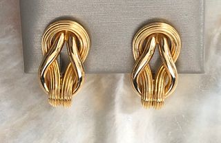 Pair of Ilias Lalaounis 18k Yellow Gold Twisted Rope Earclips