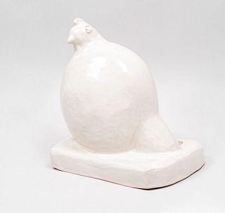 Codorniz. México, siglo XX. Elaborado cerámica estannífera. 32.5 de altura.  Expuesto en la Asociación de Amigos del MAP
