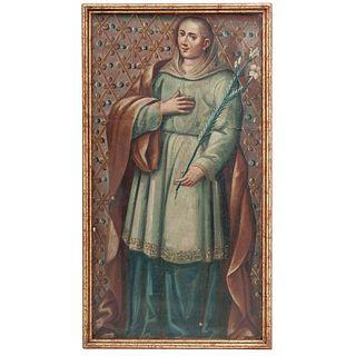 SANTA ANA. MÉXICO, SIGLO XVIII. Óleo sobre tela. Reentelado. 112 x 58 cm