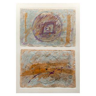 SUSANA SIERRA. En busca del rastro. Diseño de díptico. Firmada y fechada 80. Mixta sobre papel amate. Enmarcada. 88 x 61 cm