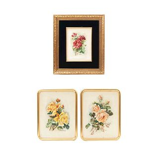 Lote de 3 obras pictóricas. C. Larios. Bouquets. Firmados. Óleo sobre tela sobre tabla. Enmarcados. 64 x 54 cm