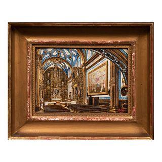 JULIO CORTÉS. Interior del Templo Aranzazu. Firmado. Óleo sobre tela. Enmarcada. 19 x 27.5 cm