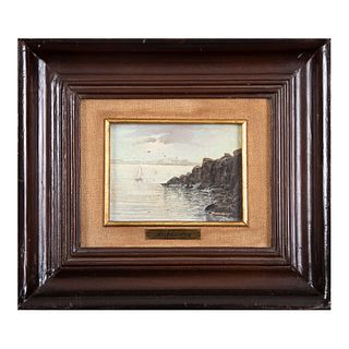 JOSÉ ANTONIO RICHKARDAY Marina Firmada Óleo sobre tabla Enmarcada 10 x 13 cm