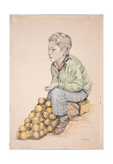S.CALDERÓN. Niño con naranjas Firmado al frente Dibujo con lápices de color sobre papel Sin enmarcar 63 x 44 cm