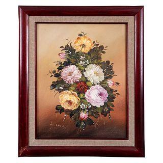 Marcus. Siglo XX. Bouquet. Firmado. Óleo sobre tela adherido a fibracel. Enmarcado. 48 x 38 cm
