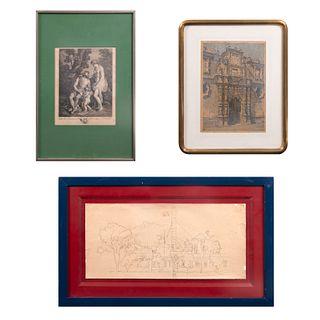 Lote de obra gráfica y pictórica. Consta de: Bouillard. Grabado. Mercure enseignant a lire a l'amour. Enmarcado. 23 x 19 cm, otros.Pz:3