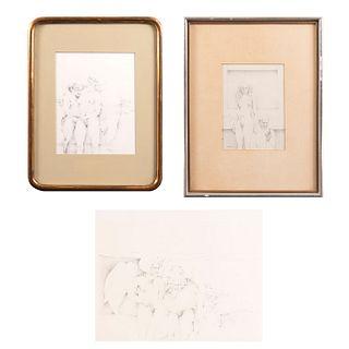 """MARCOS HUERTA. Lápiz sobre papel. Consta de: """"Las Brujas"""". Firmado y fechado '71. Sin enmarcar. 36 x 28 cm. Otros."""