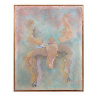 """Armando Villagrán.""""Reloj de Arena"""". Firmado y fechado 88. Acrílico sobre lienzo. Enmarcado. 100 x 80 cm."""