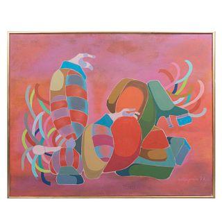 """Armando Villagrán. """"Jesusita en Chihuahua"""". Firmado y fechado 77. Acrílico sobre lienzo. Enmarcado. 80 x 100 cm"""